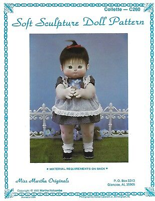 """Miss Martha Soft Sculpture Doll Pattern Collette Full Size L260 Clothes 26"""""""
