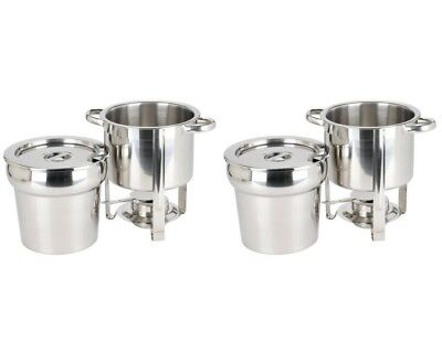 2 Deluxe Round Soup Chafer Marmite Chafing Dishes Stainless Steel 7Qt Buffet Set