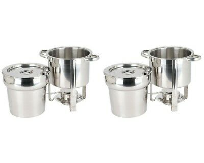 Set of 2 Deluxe Round Soup Chafer Chafing Dishes Stainless Steel 7Qt Size Buffet