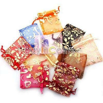 50pcs New Organza Jewelry Gift Present X-mas Pouch Bags 7x9cm Mixed Colors bdu