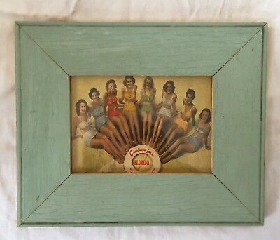 """1890's Reclaimed Wood Picture Frame 5"""" x 7"""" Wooden Antique Shabby Green 65-18"""