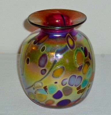 RICK HUNTER Signed Studio Art Glass VASE Iridescent Abstract Spotted Cranberry