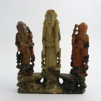Chinese Soapstone Figure Group Of The Three Star Gods, Shoulao, Fuxing & Luxing