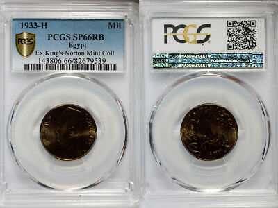 1933-H Egypt Millieme PCGS SP66 RB - Extremely Rare Kings Norton Mint Proof