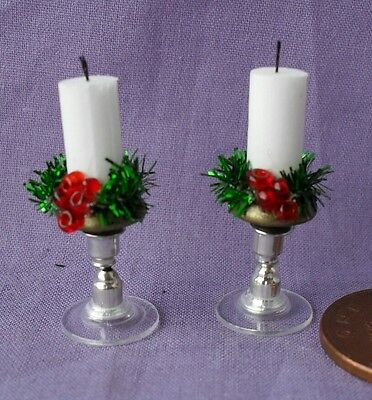 Dolls House Handmade Silver  Glass Bottom Christmas Candle Sticks