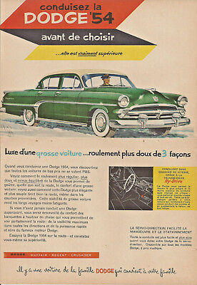 1954 Dodge May Fair Automobile Original Ad In French
