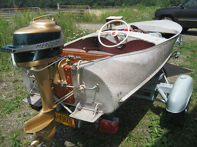 Vintage aluminum STEP-N-TRIM (Trim Tabs only) outboard Feathercraft Wood Boat