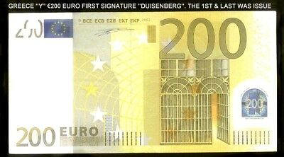 riotis 4612: GREECE ''Y'' €200 EURO 2002 1ST & LAST ISSUED FOR GREECE. CODE R003