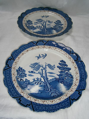 """2 Real Old Willow A 8025 Dinner Plates 10 1/2 """" By Booths England"""