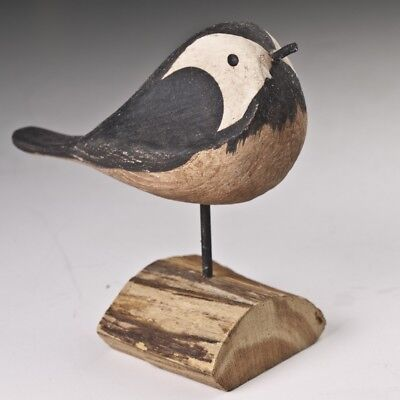 Hand Carved Painted Wood Bird White Breasted Nuthatch Vintage Wooden Folk Art