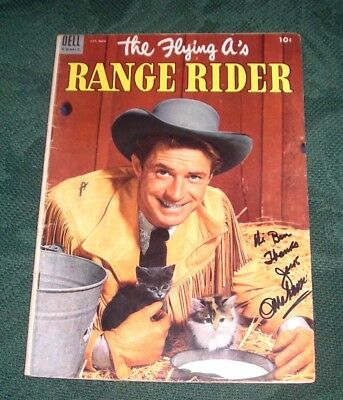 Autographed 1953 Comic The Flying A's Range Rider #3 Signed By Jock Mahoney