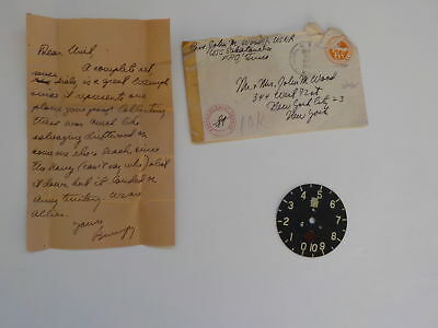 WWII Letter 1945 Japanese Airplane Dial Part Navy Ship U.S.S. Sakatonchee WW2
