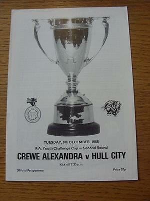 06/12/1988 Crewe Alexandra Youth v Hull City Youth [FA Youth Cup] (No apparent f