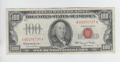 Red Seal $100 1966 vf with minor edge tear