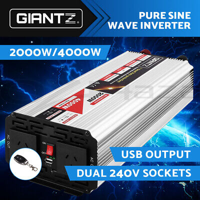 Giantz 2000W/4000W Pure Sine Wave Power Inverter 12V-240V Remote Camping Boat