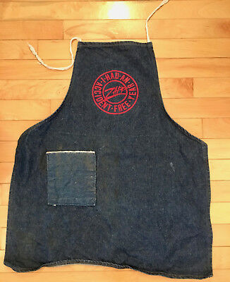 VTG Dark Denim Jean Shop Tool Full Work Apron Zapp I had An Accident Free Year