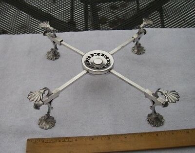 Antique English Silverplate DISH CROSS-11 Inches-Shell Form Feet-NR!