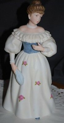 """HOMCO Home Interior #1463 Porcelain Lady 1989 Belle of the Ball Figurine 8 1/2"""""""