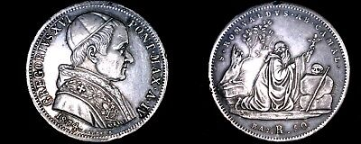 1834-IVR Italian States Papal States 50 Baiocchi World Silver Coin - Gregory XVI