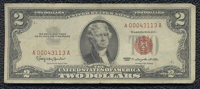 $2 Two Dollar Bill Note Red Seal United States Treasury Note 1963