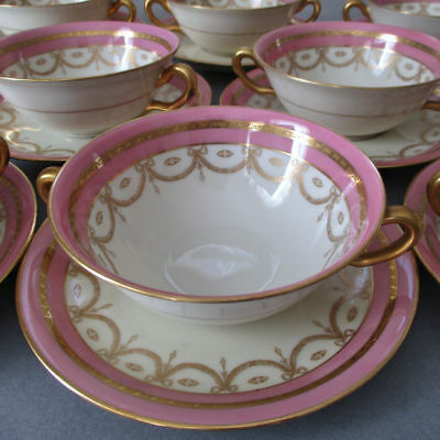 8 Antq BLACK KNIGHT PINK Porcelain BOUILLONS + Saucers GILT Encrusted BOWS Swags