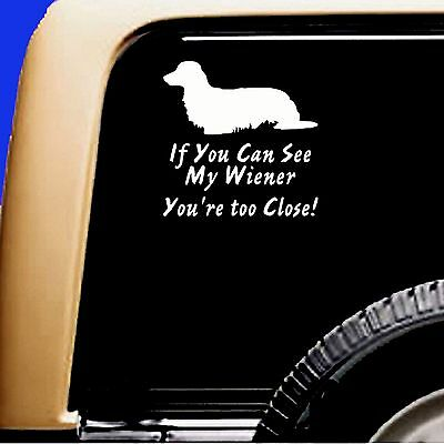 Long Hair Dachshund Funny Decal If you can see my Wiener you're to close!Sticker