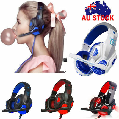 Stereo Game Headphone For PS4 Tablet Over-Ear Muff Headphones With Mic + LED