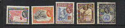 British Guiana 5 old used stamps