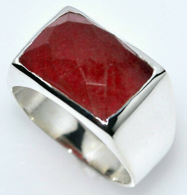 Solid Sterling Mens 925 SILVER Signet Rings Red Jade Gemstone Ring Size L to Z+5