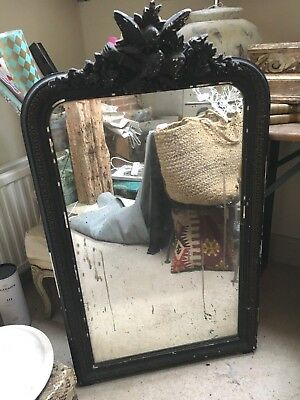 Antique French Neoclassical mirror with original carved frame