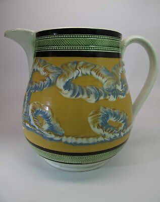 Antique Circa 1830 6-Inch Mocha Ware Pitcher With Earthworm Pattern