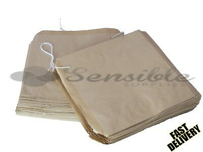 "100 x STRUNG KRAFT BROWN PAPER FOOD BAGS - 7"" X 7"""