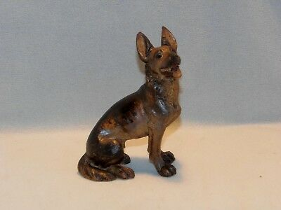 Antique, Hand Carved Black Forest, Seated Alsatian Dog, With Painted Detail.