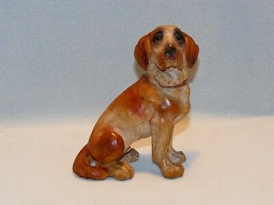 ANTIQUE, HAND CARVED BLACK FOREST, SEATED St BERNARD DOG, WITH PAINTED DETAIL.