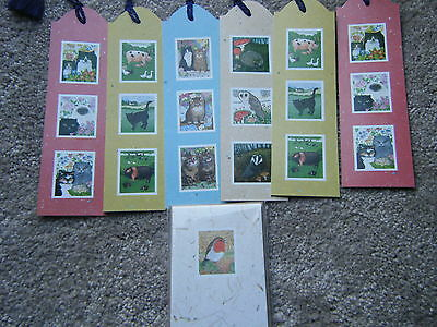 Sharon Jervis Six Cat & Animal Bookmarks & 4 Message Cards Robin Design