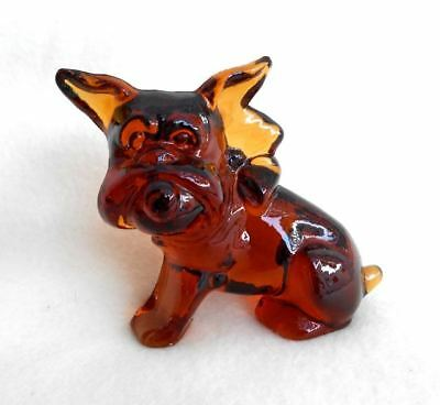 GORGEOUS Vintage Imperial SOLID Glass Brussels Griffon Dog Figurine EXCELLENT
