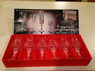 New in Box VINTAGE Set of 6 CRISTAL D'ARQUES LONGCHAMP 6 oz Crystal Wine Glasses