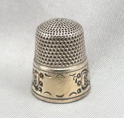 Antique SIMONS STERLING Silver SEWING THIMBLE Size 7 Vintage Victorian 5 Grams
