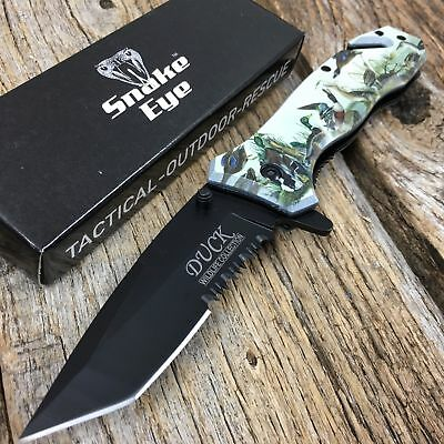 DUCK Image RESCUE Tactical Spring Assisted Pocket Knife Outdoor Wildlife