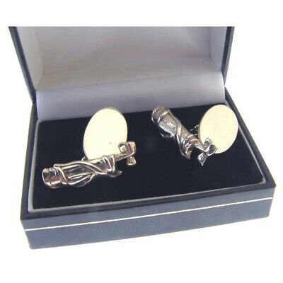 Hallmarked Sterling Silver Golf Bag & Oval Cufflinks.  Special Clearance Price
