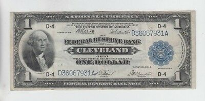 Federal Reserve Note $1 1918 fine stains hard folds