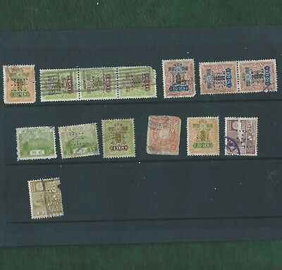Japan Nippon small lot of very old used perfins