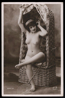 Rare French Nude RPPC Real Photo Postcard Jean Angelou Seated Beauty c. 1910s NR