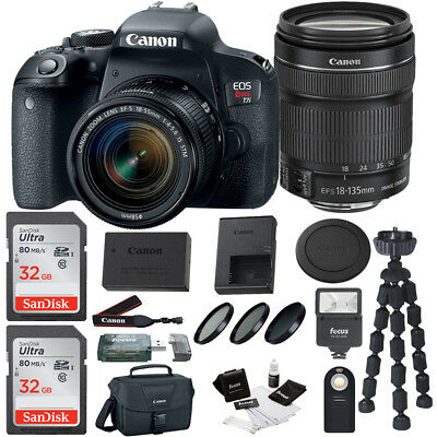 Canon Rebel T7i DSLR Camera w/18-135mm lens, Flash, Filter kit, Bag & 64GB Kit