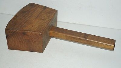 Large Antique Wood Mallet Hammer Hand Tool