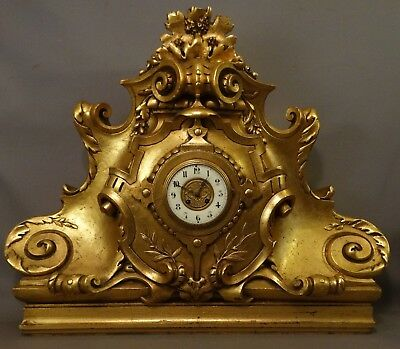 LG Antique VICTORIAN Era ROCOCO Style CARVED Gilt WOOD & GESSO Old MANTEL CLOCK