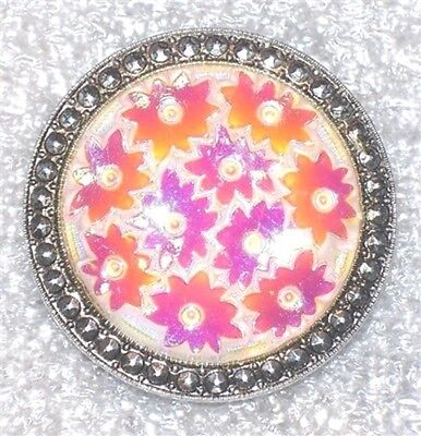 Round Simulated Marcasite & Iridescent Pink Flowers Scarf Clip F467