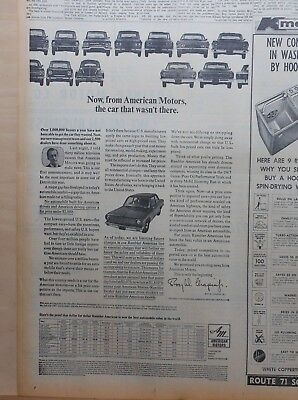1967 newspaper ad for American Motors Rambler - The Car that wasn't there