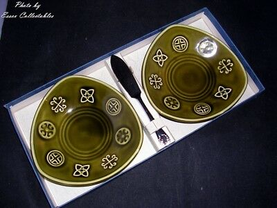 Lord Nelson Pottery Dishes with Spreader Green Celtic Design BOXED Vintage 1960s
