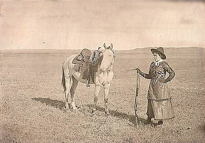 "1900 Photo, Nebraska Cowgirl with Horse and Rifle, Gun, 16""x11"" antique old west"
